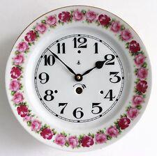 GUSTAV BECKER KPM KRISTER ANTIQUE Wall TOP!! Clock 1910s Germany Porcelain 8 Day