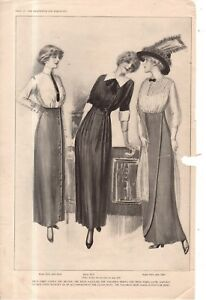 1912 Original Delineator Fashion Print - High waistline tailored skirts; shirt