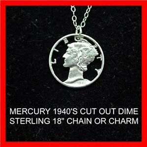 Mercury Lady Liberty Old Silver Dime Cut-Coin Jewelry Sterling Necklace