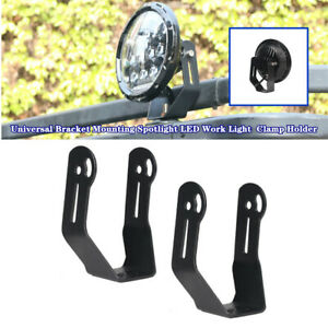2xRoof Front Bar 7''Round LED Headlight Bracket Mounting Spotlight Clamp Holder