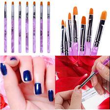 7Pc Nail Art UV Gel Painting Drawing Brushes Acrylic Se Brushfessional Flat L9T8