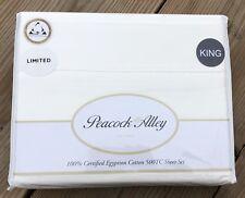 Peacock Alley 500 TC Egyptian Cotton King Sateen Sheet Set White NEW $520
