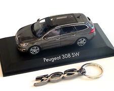 Peugeot 308 SW mokka-grau-Metallic, 1:43 und Schlüsselanhänger