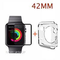 Coque transparente souple silicone gel apple watch 42MM + Verre trempé noir