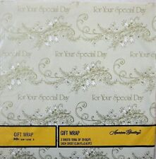 Vintage For Your Special Day Wedding Birthday Wrapping Paper in Original Seal
