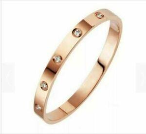 Bracciale da donna rigido in acciaio con punti luce braccialetto inox oro rosa