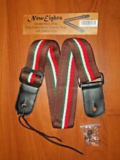 Neiweights Ukulele strap Tri-color Brown main Leather ends, all Cotton Screw Cap