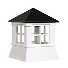 "Cupola 16"" Vinyl Cupola with Window Black Metal Hipp Roof Shed Cupola"