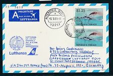 66541) LH FF Frankfurt - Oslo Norwegen 8.10.98, card Trinidad MeF Schiffe ship