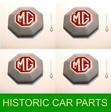 4 x HUB CAP MEDALLIONS for Pressed St Wheels on MG Midget TD & TF 1950-55
