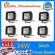 6X  3''IN Cube Pods 24W CREE LED Flood Beam Work Light DRL Truck Car 12V24V Jeep