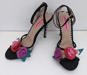 Betsey Johnson Jaime Zebra Striped Stiletto Heels Floral Toe Ankle Strap Size 7