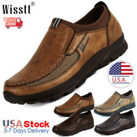 Men's Leather Casual Shoes Breathable Antiskid Loafers Slip on Moccasins Autumn