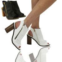 Womens Ladies High Block Heel Peep Toe Open Back Boots Ankle Strap Cut Out Shoes