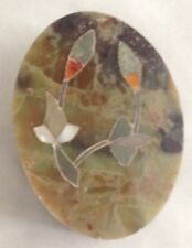 """Rock 3"""" Mother of Pearl Decorated Trinket Box w Lid"""