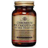 Solgar Chromium Polynicotinate 200 mcg 100 Veggie Caps FREE Shipping FRESH