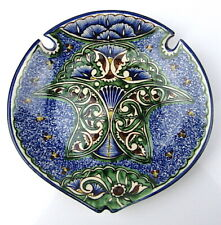 Signed Majolica Ceramic Hand Painted Spoon Rest Dish Wall Hang Pottery