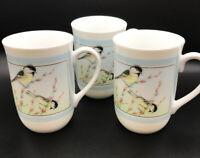 Vintage OTAGIRI Japan Tea Coffee Cup Mug Set of 3 Birds Flowers