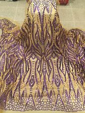"GOLD MESH W/GOLD EMBROIDERY PURPLE    SEQUIN LACE FABRIC 52"" WIDE 1 YARD"
