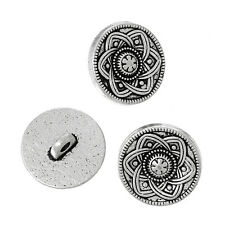 10 Metal Shank Buttons Silver Tone Flower Design 15mm Free UK Postage