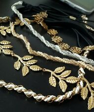 ONE Golden Silver Leaf Rose Head Chain Jewelry Bead Headband Head Piece Hairband