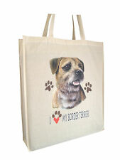 Border Terrier Cotton Shopping Tote Bag with Gusset & Long Handles Perfect Gift