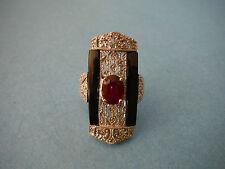 Rarities / Carol Brodie -  Sterling Silver - Ruby Black Spinel Diamond Ring NWT