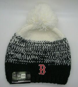 Boston Red Sox MLB Authentic New Era Women's Knit Pom Bobble Hat - Polar Dust