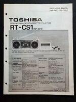 Original Toshiba Stereo Radio Cassette Player RT-CS1 Service Data File No. 110-3