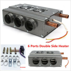 Car 12V 6 Port Double Side Iron Compact Heater Heat Fan Defroster w/Speed Switch