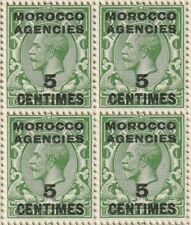 Morocco Agencies  BLOCK OF 4 1917-24 5c on ½d SG192 MNH