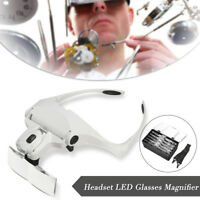 Headband Headset Jeweler Magnifier Magnifying Glass Loupe Glasses With LED Light