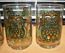 Set of 4 Vintage Libbey OWL 8Oz Glasses, Mid Century,Raised Stained Glass Design