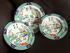 """2 English Coalport """"Chinese Willow"""" 7""""/18cm Side Plates & an 8""""/21cm Salad Bowl"""