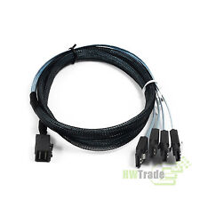 Mini SAS SFF-8643 to 4 SATA 7pin Hard Disk 6Gbps data Server Raid Cable Blue 1m