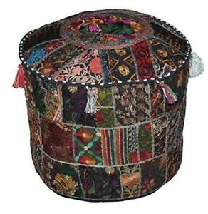 Black Ottoman Pouf Cover Indian Handmade Bohemian Patchwork Seating Foot Stool