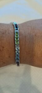 Beautiful Sterling Silver Multi Color Square Gemstone Tennis Bracelet  7 1/2 In