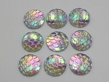100 Clear AB Flatback Resin Fish Scale Pattern Round Cabochon 12mm