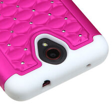 For ZTE Prestige N9132 - HARD&SOFT RUBBER HYBRID CASE COVER PINK DIAMOND BLING