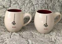 Rae Dunn Magenta Kiss under the Mistletoe Kiss Coffee Tea Mug Christmas lot of 2