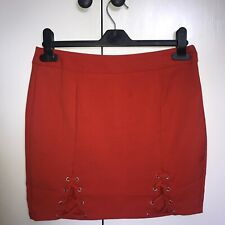 * Missguided Red Orange Double Lace Up Mini Skirt - Size 10 Petite *