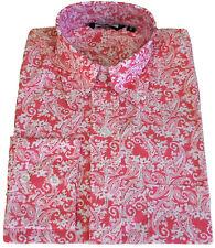 Relco Mens Red Paisley Long Sleeve Shirt Button Down Collar Mod Retro 60s Vtg