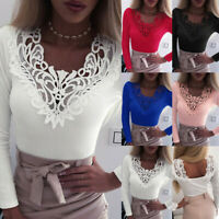 Womens Fashion Lace Patchwork V Neck Long Sleeve T Shirt Casual Slim Blouse Tops
