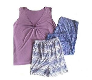 JACLYN SMITH NEW Purple Top Abstract Prints Pant Pajamas & Short Set Plus 2X QCO