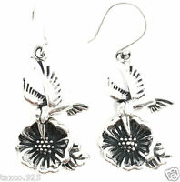MOLINA TAXCO MEXICAN 925 STERLING SILVER HUMMINGBIRD FLOWER EARRINGS MEXICO