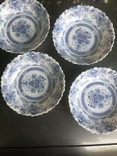 Arcopal France Blue Honorine Scalloped Edge Cereal Salad Soup Bowls Set Of 4