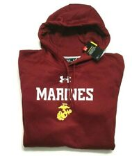 Under Armour Semper Fi US Marines Fleece Hoodie Sweatshirt Mens XXL Freedom Red