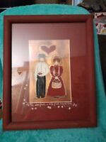 Punched And Painted Copper Picture Wood Frame Amish Primitive Theme