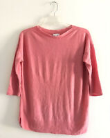 J Jill Womens Size S Pink Linen Top Pullover Boatneck 3/4 Sleeves Side Split