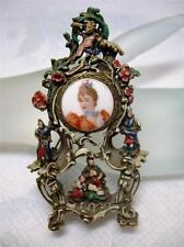 "RARE~3"" Limoges France  Clock Case Style Enamel Cherub Figural Pin Brooch"
